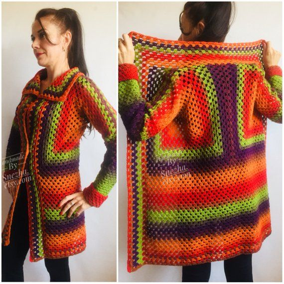Burnt Orange Granny Square Knit Cardigan Women Wool Jacket Coat Green Violet Cardigan Rainbow Clothing Boho Open Front Long Cardigan #grannysquares
