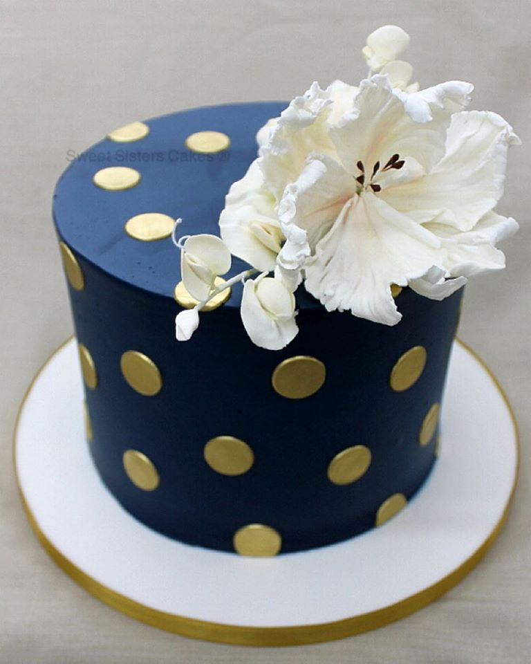 Navy Blue And Gold Desserts Cakes Classic Birthday Shower