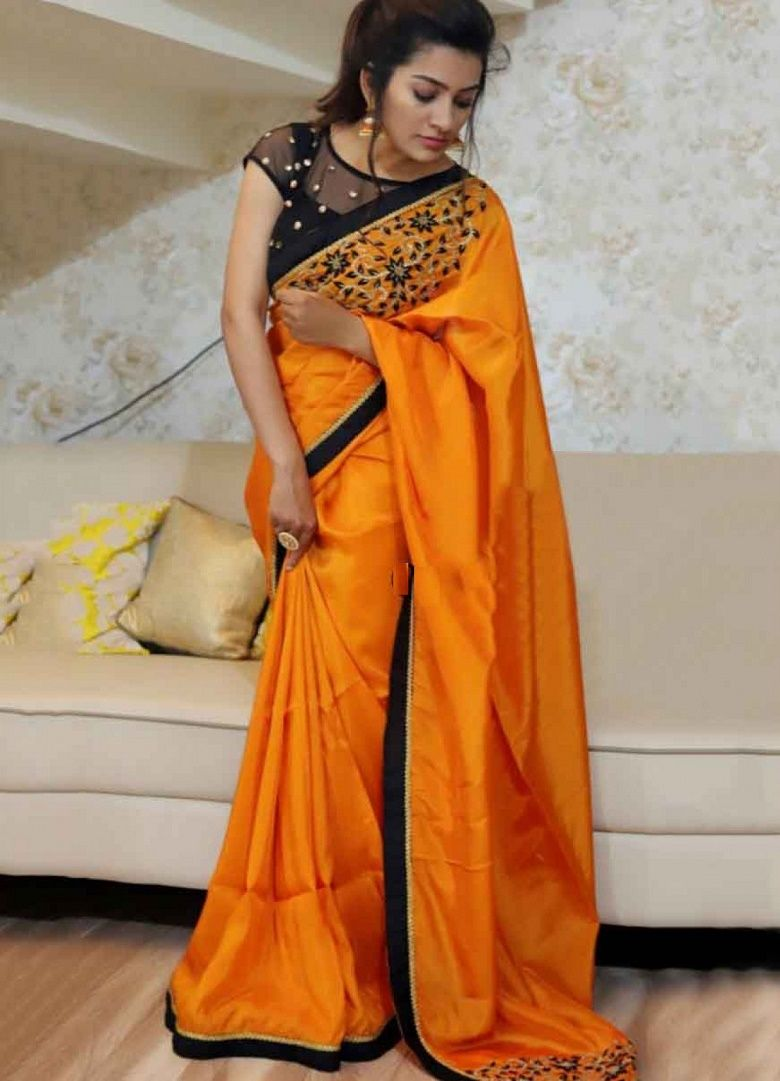 405fbf58982a49 Paper Silk Saree in Orange Color. Enhanced with Thread Work and Lace Border  Work. Available with a Un-Stitched Naylon Mono Net And Banglori Silk With  Blouse ...