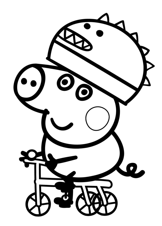 george in bici con il casco con il dinosauro  peppa pig