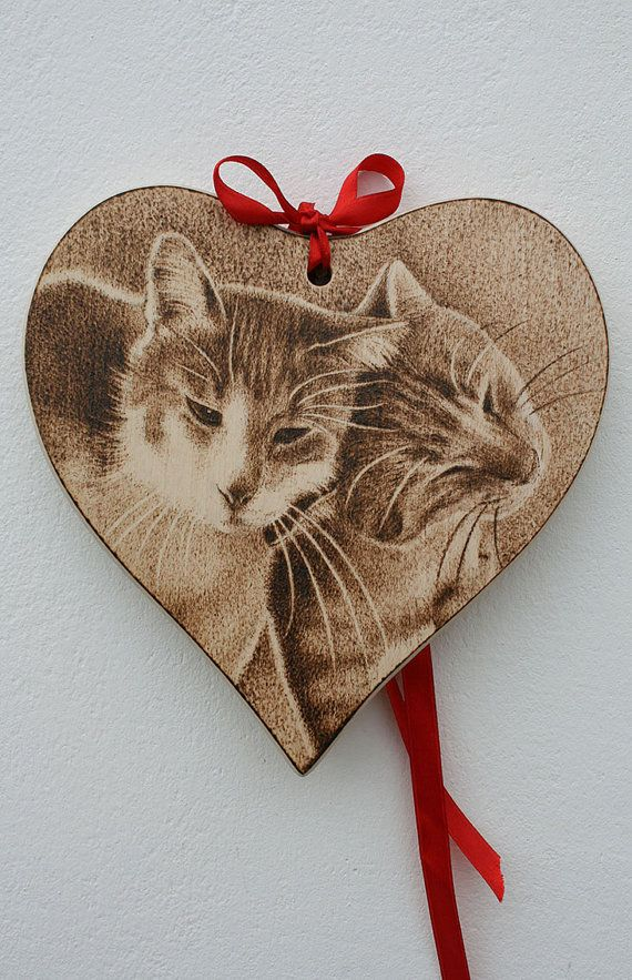"Wooden Heart - ""Kitties in Love"" - Pyrography - handmade Valentine's gift"