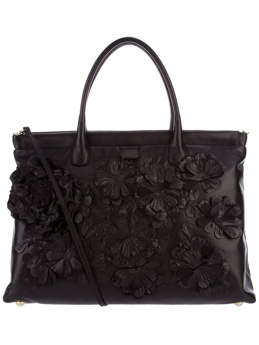 Valentino leather flower tote