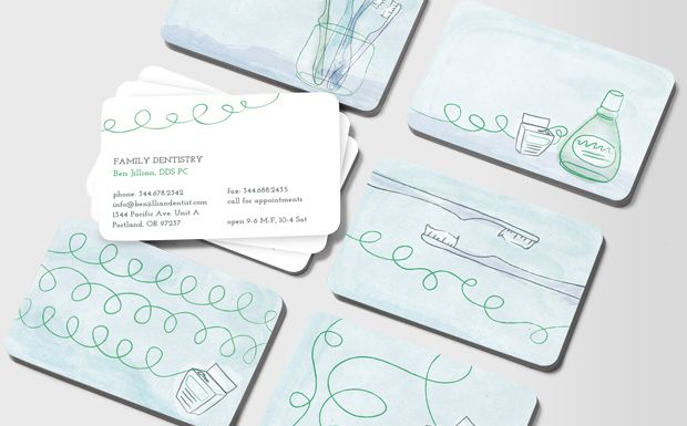 Minty Floss Business Cards Dental Business Cards Dentist Business Card Dental Logo Design