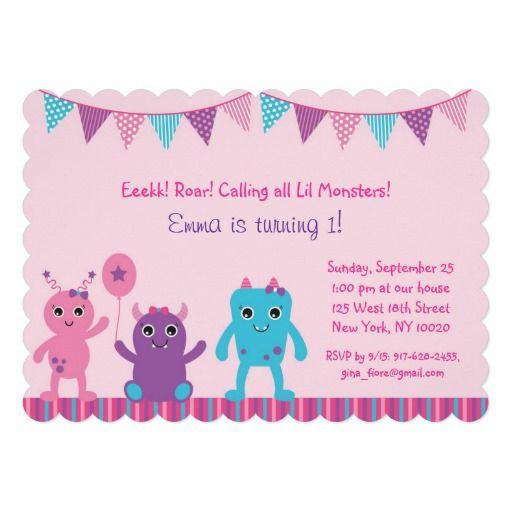 Girl Monster Birthday Invitations