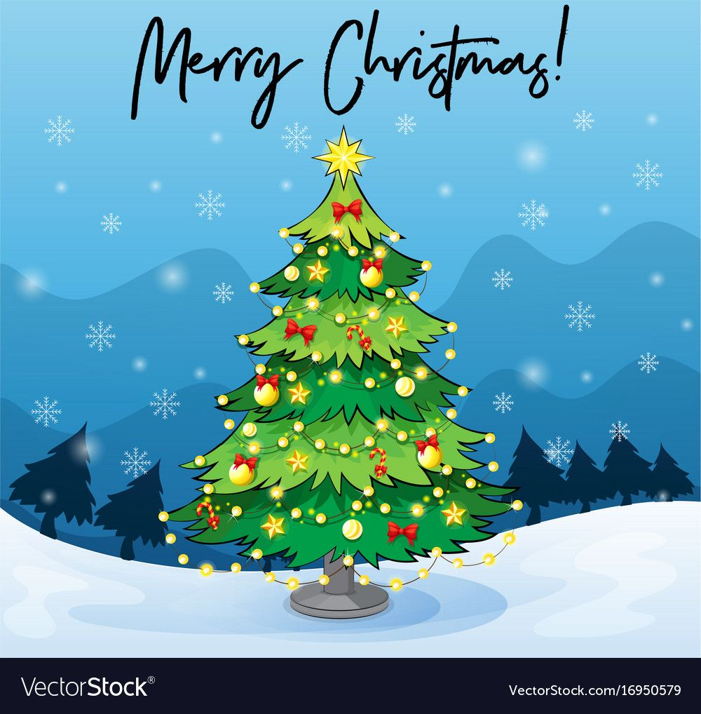 Merry Christmas Card Template With Christmas Tree In Adobe Illustrator Christmas Card Christmas Images Clip Art Christmas Card Template Christmas Tree Drawing