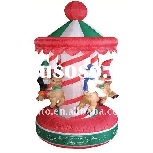 gemmy inflatable red carousel christmas and halloween and easter - inflatable outdoor christmas decorations