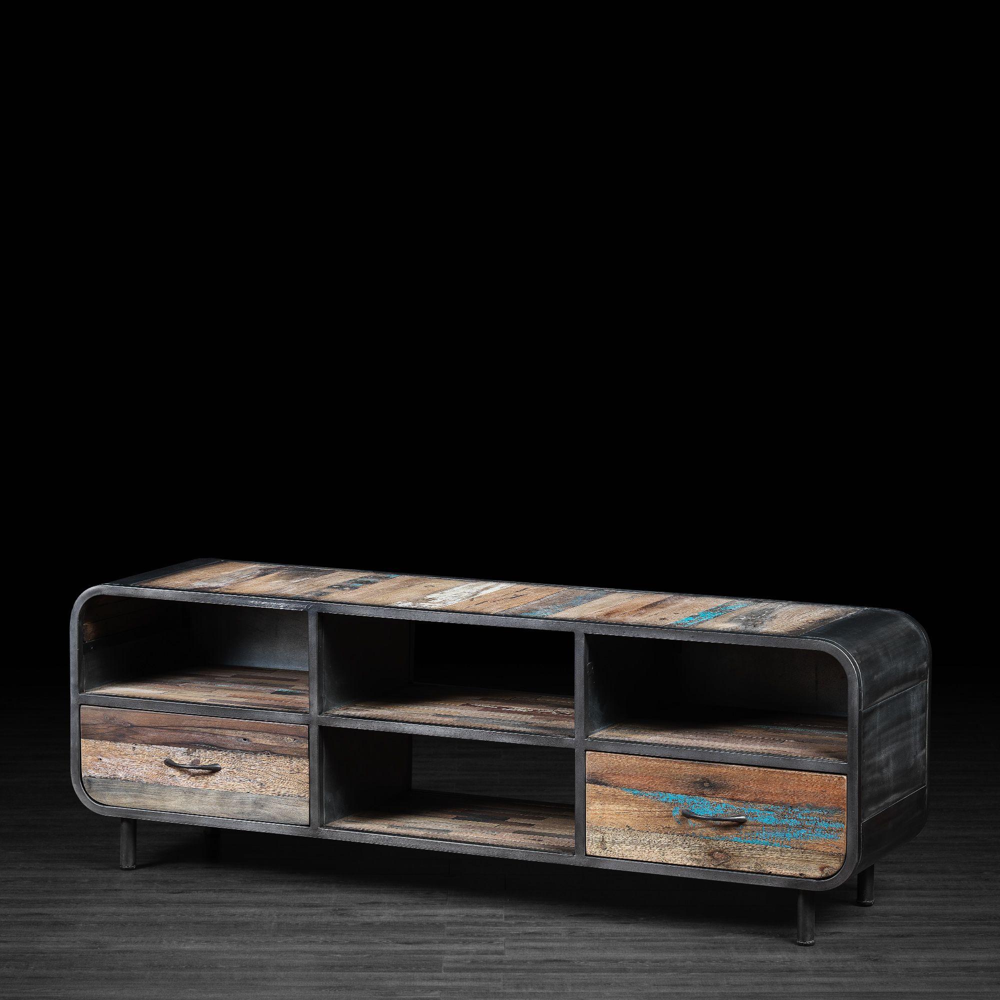 Meuble télévision 2 tiroirs en métal et bois recyclé de vieux