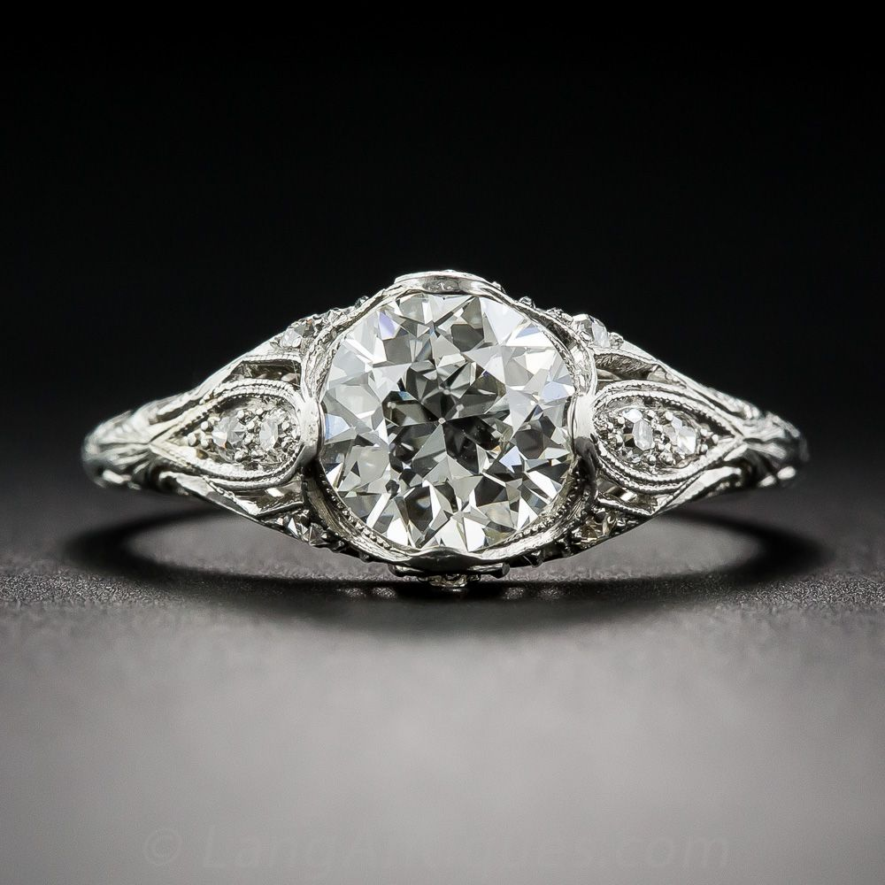 Art crafted engagement rings - 1 42 Carat Diamond Art Deco Engagement Ring Gia K Vvs2