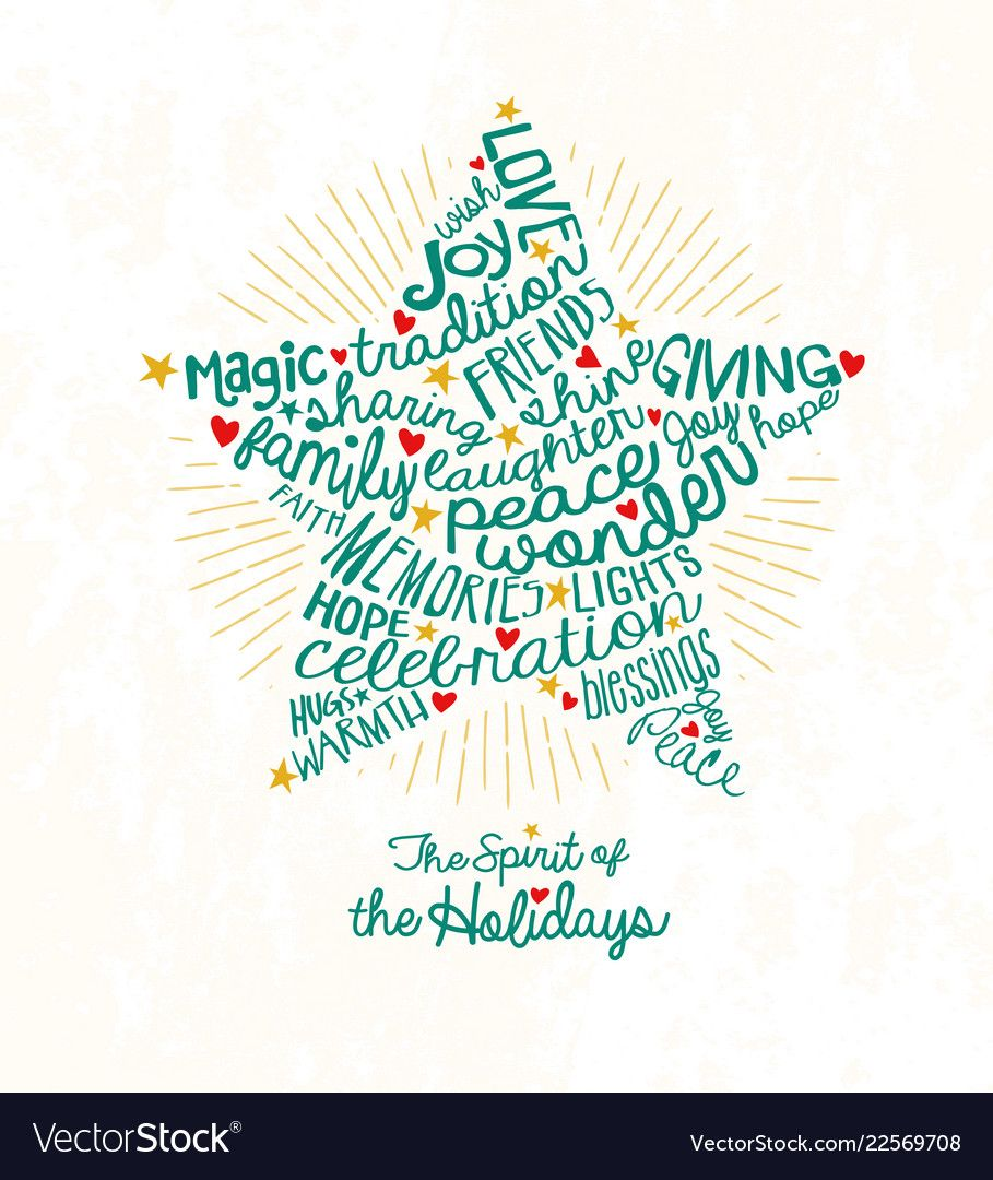 Christmas star card word cloud design vector image on