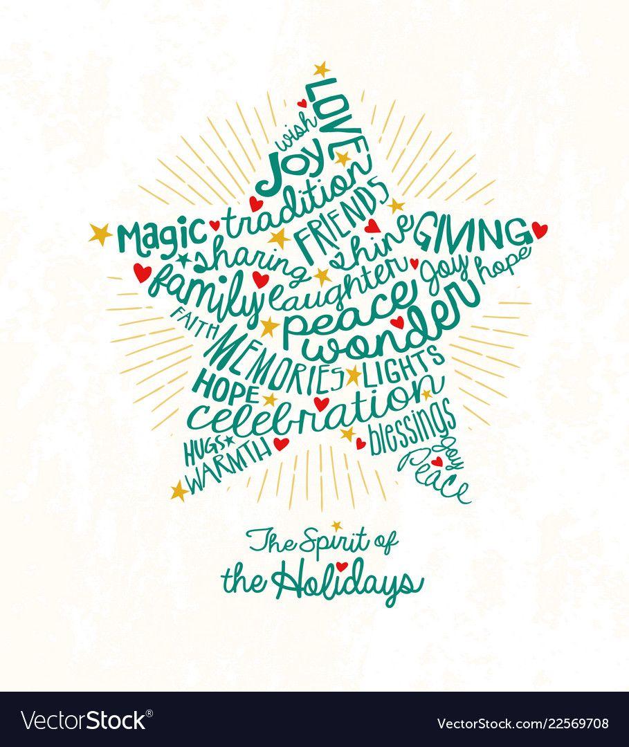 Christmas star card word cloud design vector image on