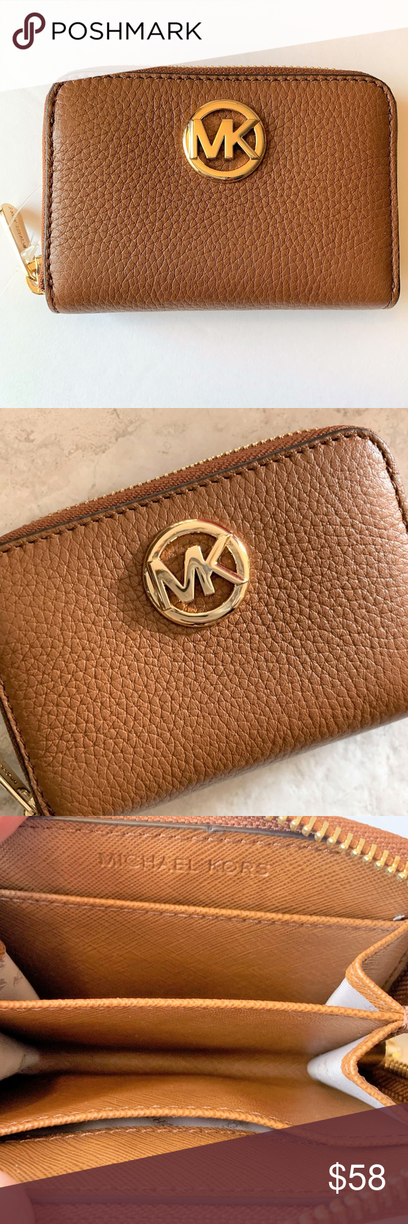 b33a74048a2fdd Michael Kors Coin Case Zip Mini Wallet Luggage MK Fulton Zip Around Coin  Case/Coin