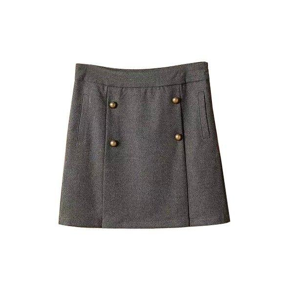 Plain Zip Side Four Buttons A-Line Mini Skirt (€17) ❤ liked on Polyvore featuring skirts, mini skirts, beautifulhalo, short a line skirt, zip skirt, zipper skirt, short skirts and short mini skirts
