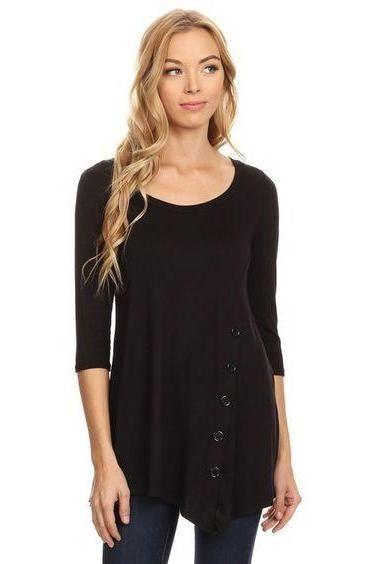 a4e77b1f5885c8 Tunic Top For Women Shirt Asymmetric Hem Solid Black  S M L 1XL - MomMe and  More  tunicsandleggingsforwomenTutorials
