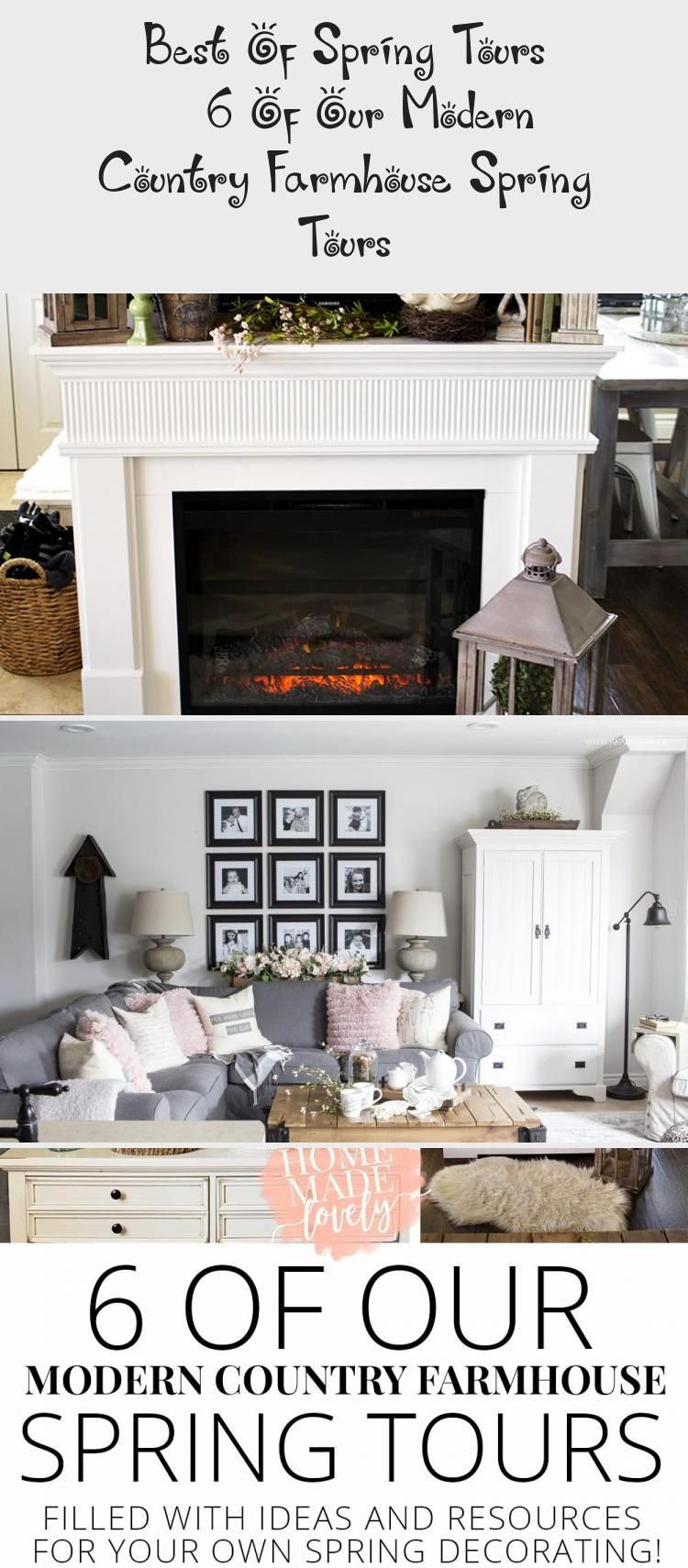 White Electric Fireplace Mantel With Spring Decor Like Lanterns Greenery And Ceramic Birds Modernmantled In 2020 Modern Country Country Farmhouse Modern Mantle Decor