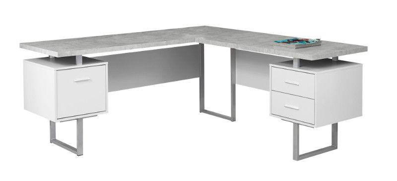 Computer Desk 70 L White Cement Look Left Right Face White Computer Desk L Shaped Corner Desk Office Desk