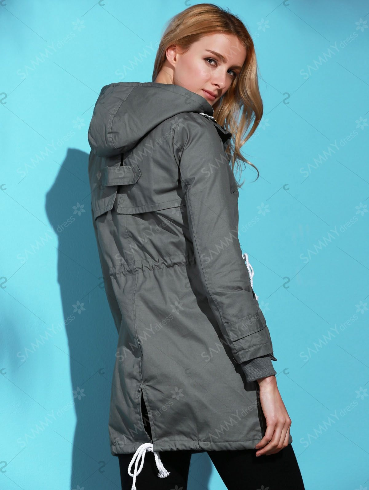 9f5137fa061 Chic Solid Color Long Sleeve Pocket Coat For Women in Deep Gray |  Sammydress.com