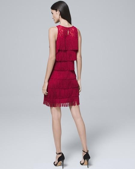 353203b7f1e3 Women's Lace-Yoke Fringe Shift Dress by White House Black Market ...