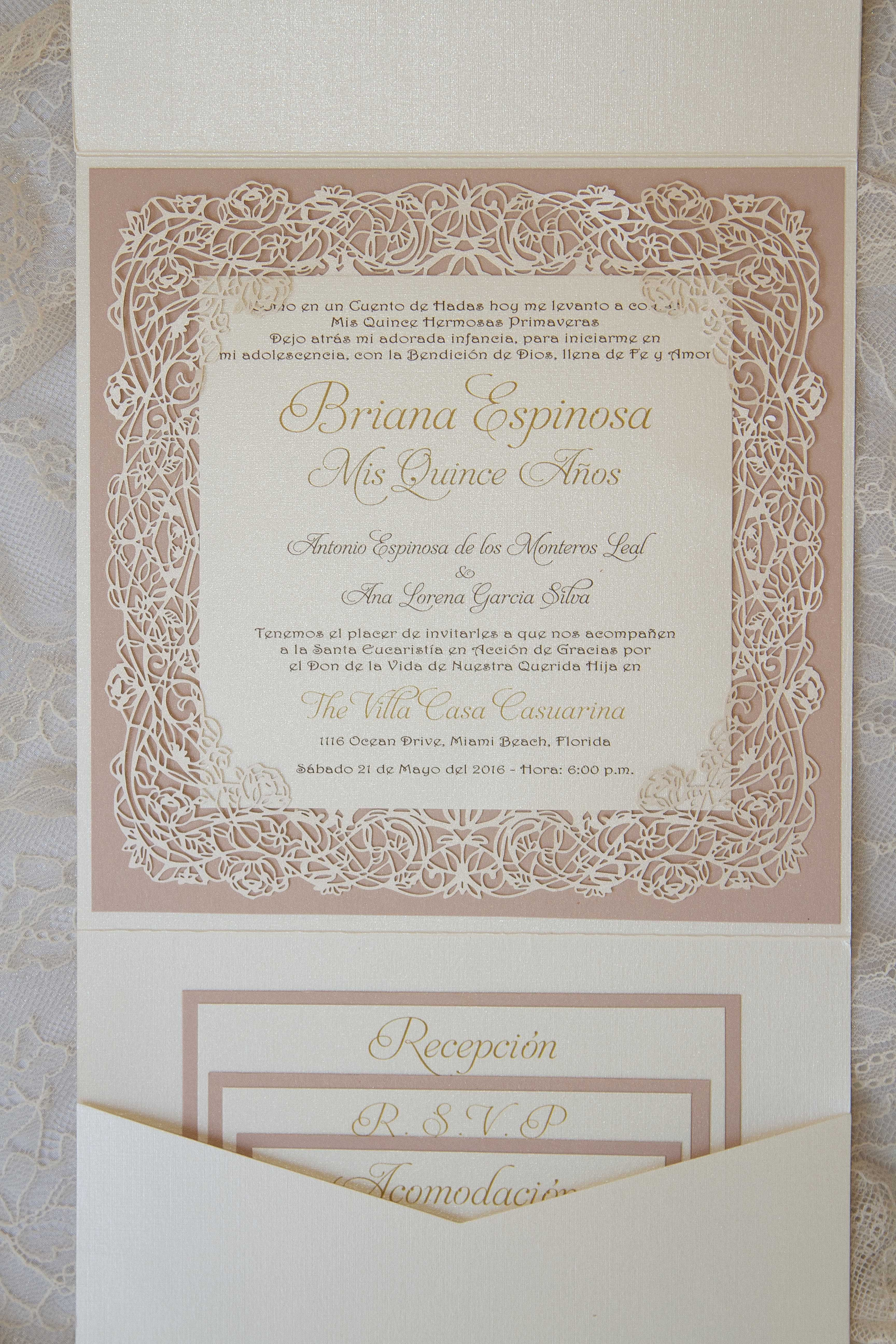 Quinceanera Pocket invitation with laser cut rose vine. All ...