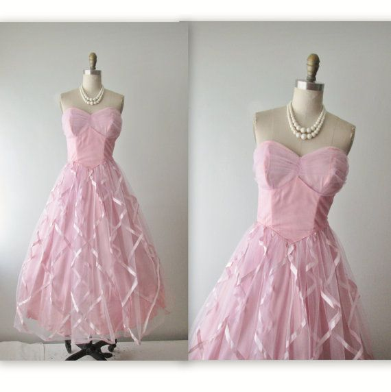50's Prom Dress // Vintage 1950's Strapless by TheVintageStudio, $88.00