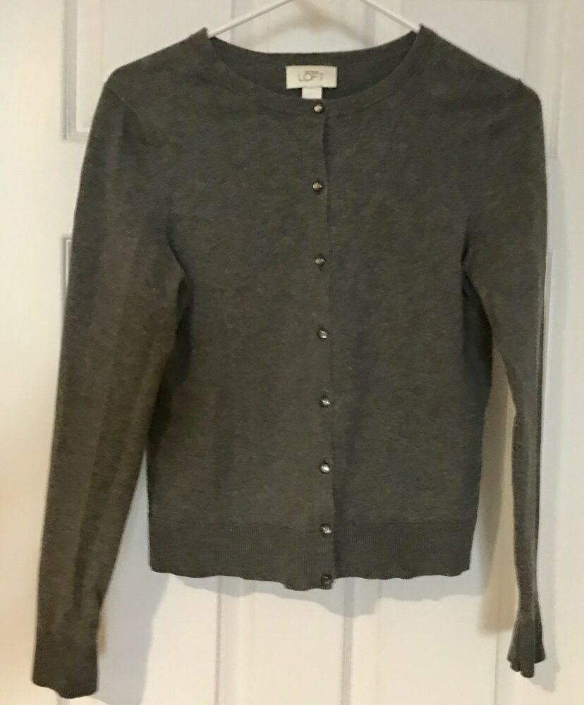 5a981cdcee28 Details about Ann Taylor Loft cardigan Size S Button Front Gray ...