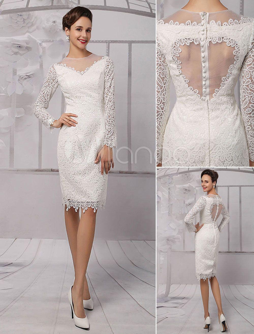 Knee length wedding dress  Lace Illusion Neckline LongSleeves Kneelength Sheath Wedding Dress
