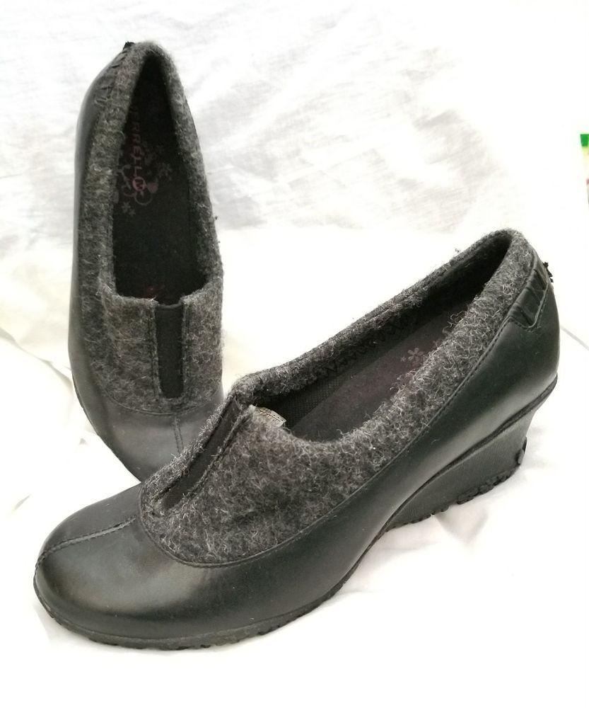 d6f69933c8d Merrell wedge pump 7 M Tulip black leather marled wool moccasin vibram soles   Merrell  Moccasins