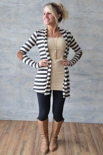 638a25b49cf0 Leggings, flowy sweater, boots!! | My Style | Fashion, Striped ...