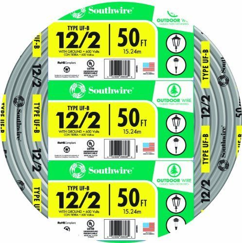 Southwire Company 13055922 12 2wg Uf Wire 50 Foot By Southwire 40 34 From The Manufacturer For Applications Of Direc Wire Outdoor Electricity