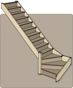 Quarter Turn Staircases Produced Flat Pack By Rapid