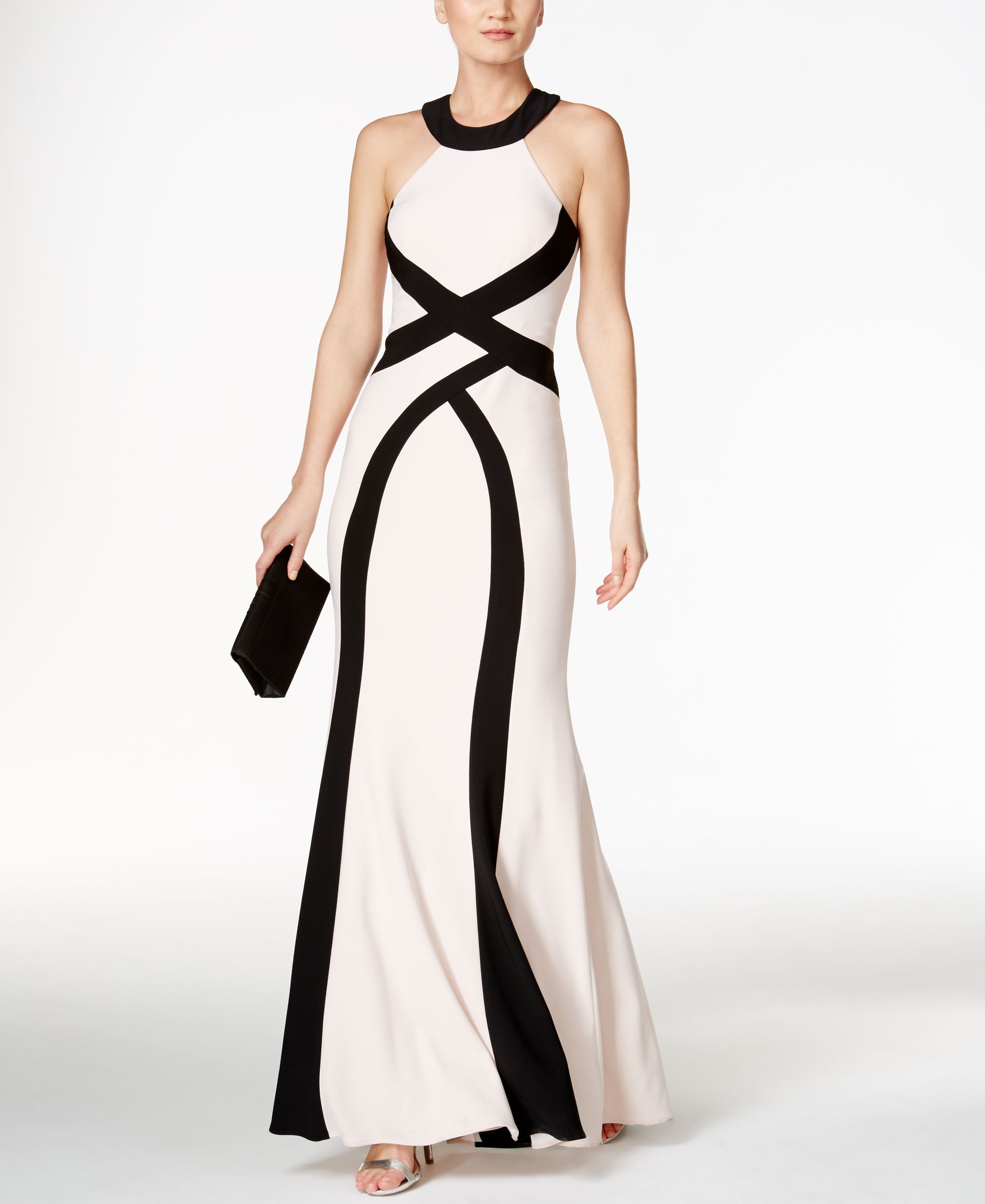 9671b68740 Xscape Colorblocked Open-Back Halter Gown