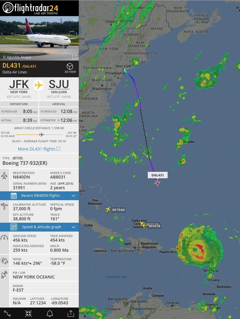 Delta Airlines Plane Flies Straight Into Hurricane Irma And Out Again Delta Airlines Puerto Rico Island