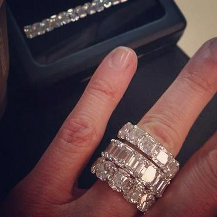 Emerald cut Cushion cut and square emerald cut diamond wedding