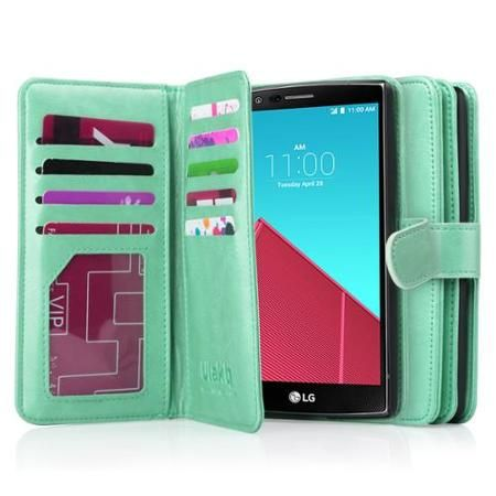For A?  LG G4 Case, G4 Case, ULAK LG G4 Wallet Case Hard Shell Skin Case Flip Premium PU Leather with [Built-in 9 Credit Card Slots] (2015)(Mint Green)