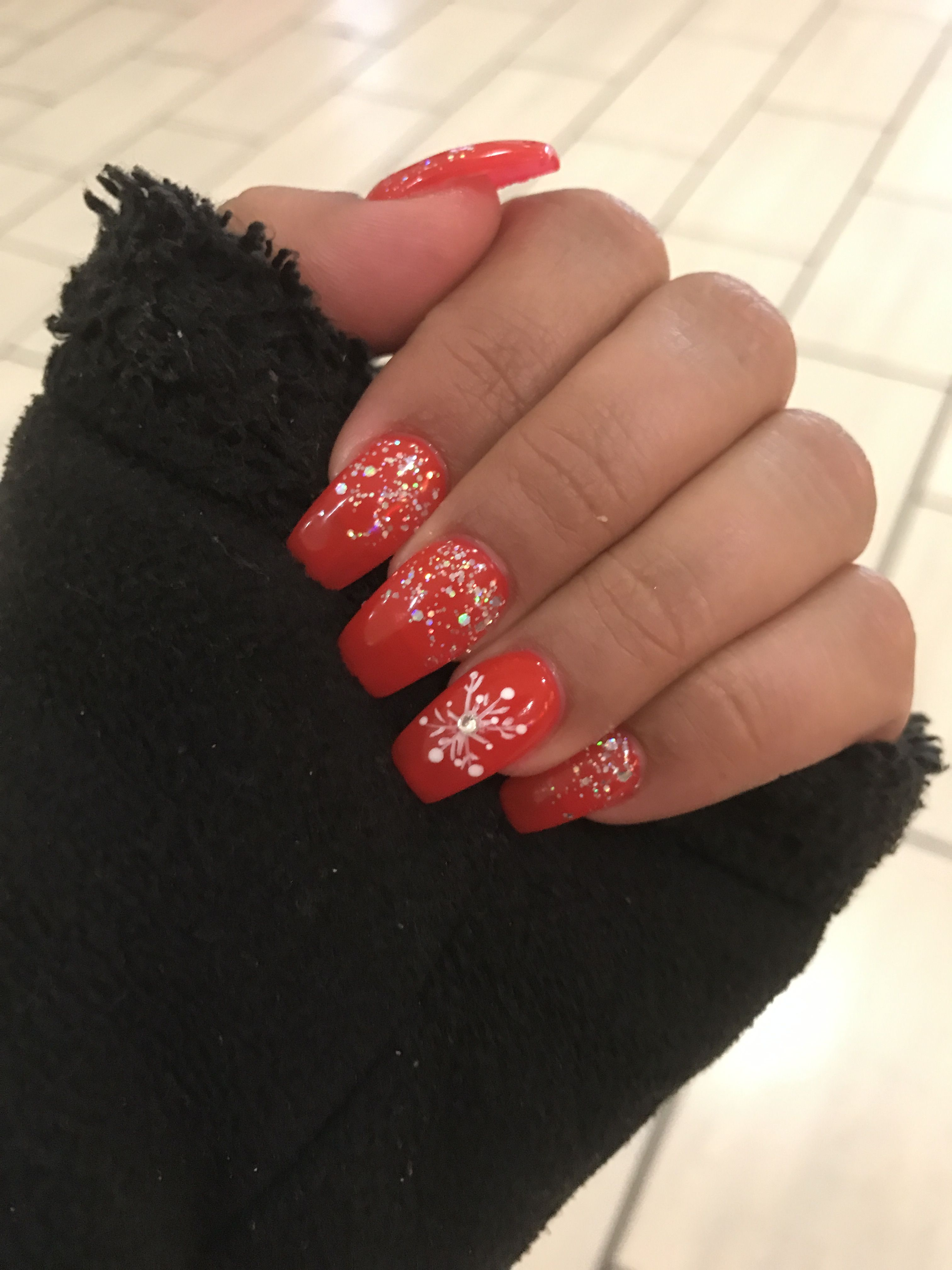 Ferrari Red Nails With Glitter And Snowflake With Images Red