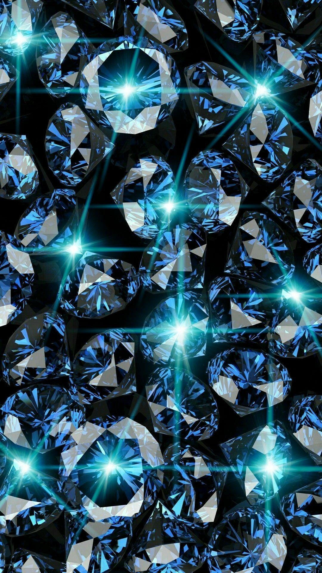 Blue Diamonds With Bling Wallpaper Bling Wallpaper Diamond Wallpaper Iphone Diamond Wallpaper