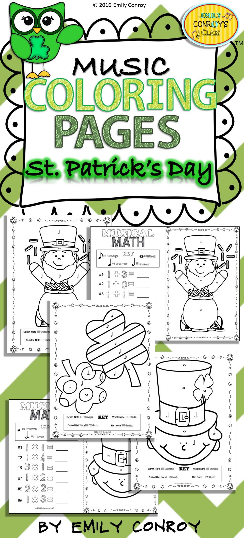 Music Coloring Pages (St. Patrick\'s Day) | Math, Elementary music ...