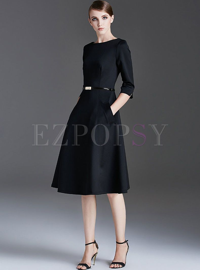 Elegant O-neck Zippered Slim Skater Dress  Women dresses classy