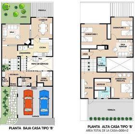Planos de casa de 2 plantas 300m2 en total via www for Casa minimalista 300m2