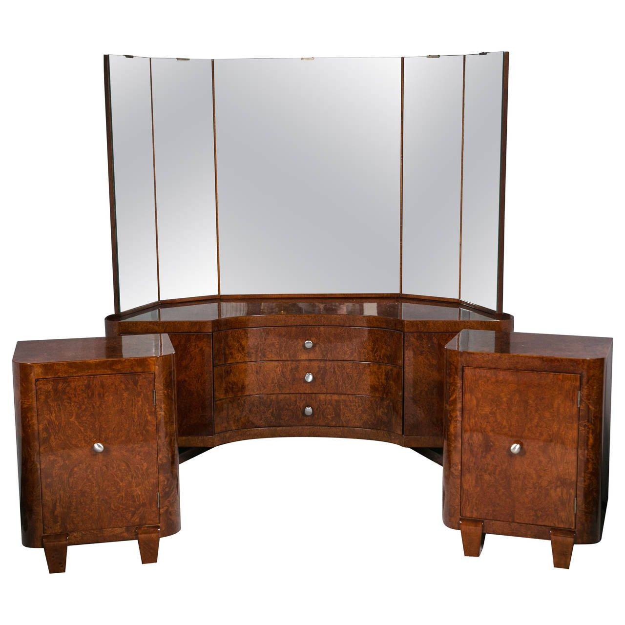 Burlwood Art Deco Vanity Or Dressing Table With Two Matching Night Stands