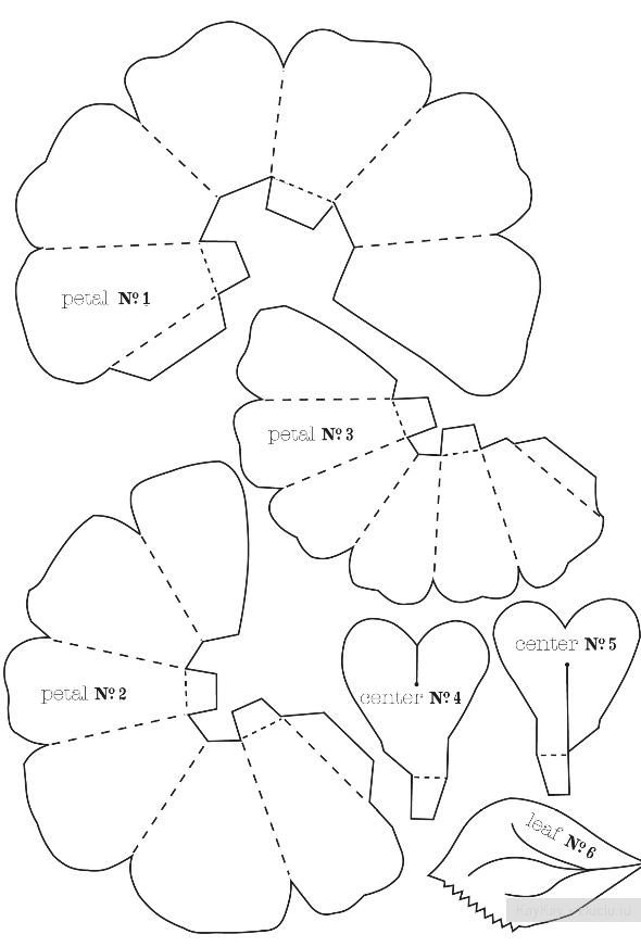 Цветы объемные из бумаги шаблоны