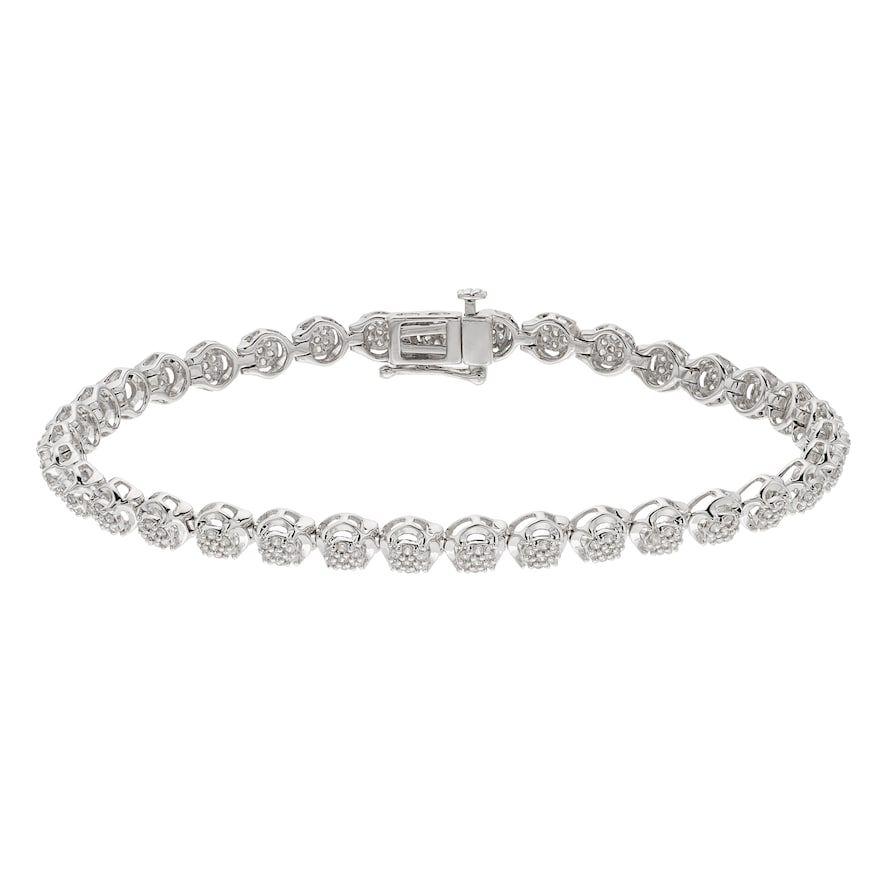 Sterling Silver 1 Carat T W Diamond Tennis Bracelet White Tennisbracelet Tennis Bracelet Diamond Diamond Sparkly Bracelets