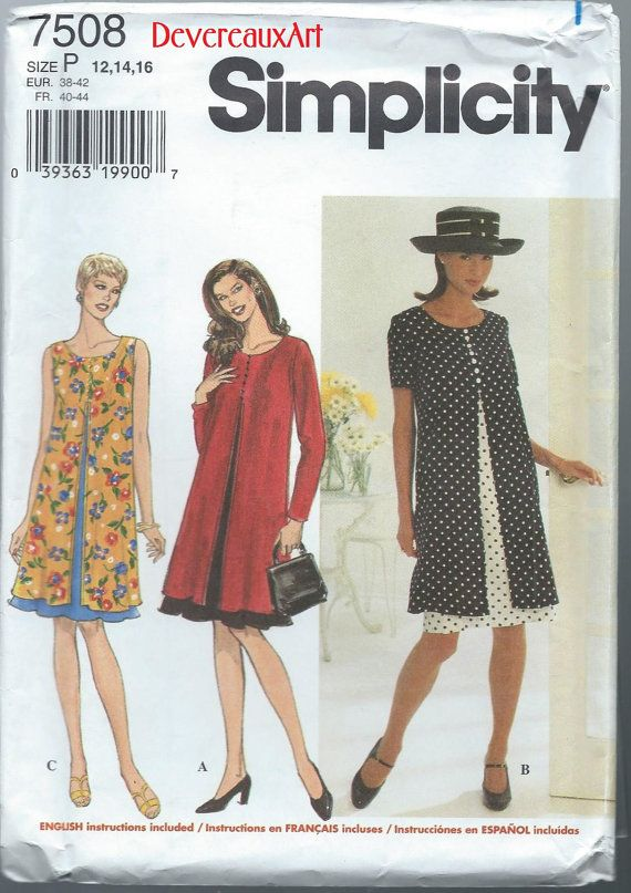 1997 Simplicity Pattern 7508  UNCUT  Size P by Devereauxart (Craft Supplies & Tools, Patterns & Tutorials, Sewing & Needlecraft, Sewing, 1997, size P, size 12-14-16, simplicity 7508, misses- miss petite, maternity, flared dress, lunch, office, city, boho, indie, matron)