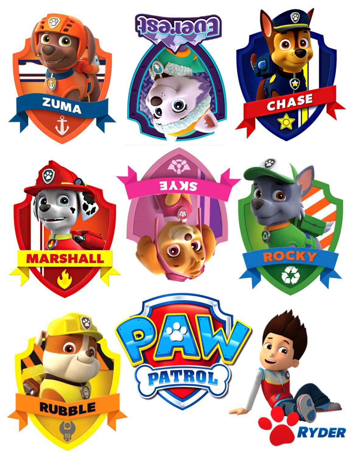 Cartoon Characters With 5 Letters In Their Name : Iron on sheet of paper with paw patrol logo and by