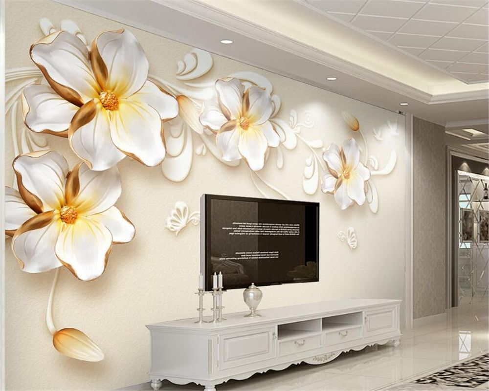 Beibehang 3d Papel De Parede Novo Al Vio Ouro J Ias Flor Tv Fundo  -> Mural Parede Sala