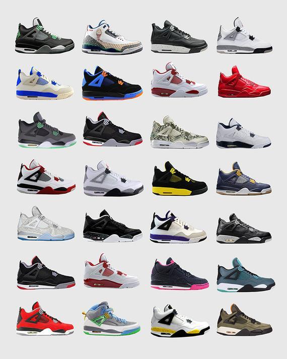 5a222eb1af2cd Nike Air Jordans 4s - Nike Poster - Michael Jordan Poster - Jordan ...