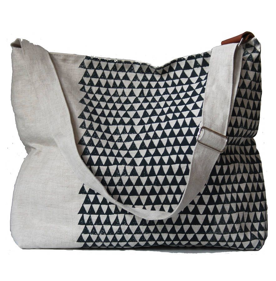 Linen Shoulder Bag With Indigo Triangles