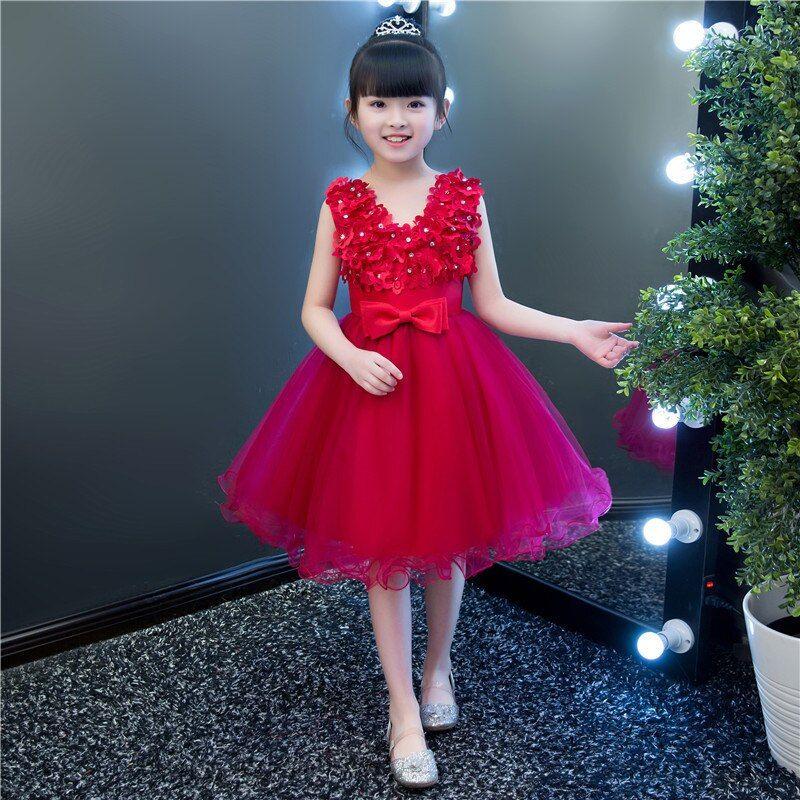 6318be787 Hot Children's Host Dress Girl Princess Dress Piano Costume Flower Girl  Dress Wedding Dress Ball Gown