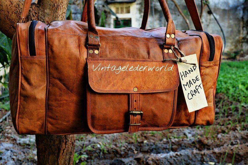 New Men/'s duffel genuine Leather large vintage travel gym weekend overnight bag