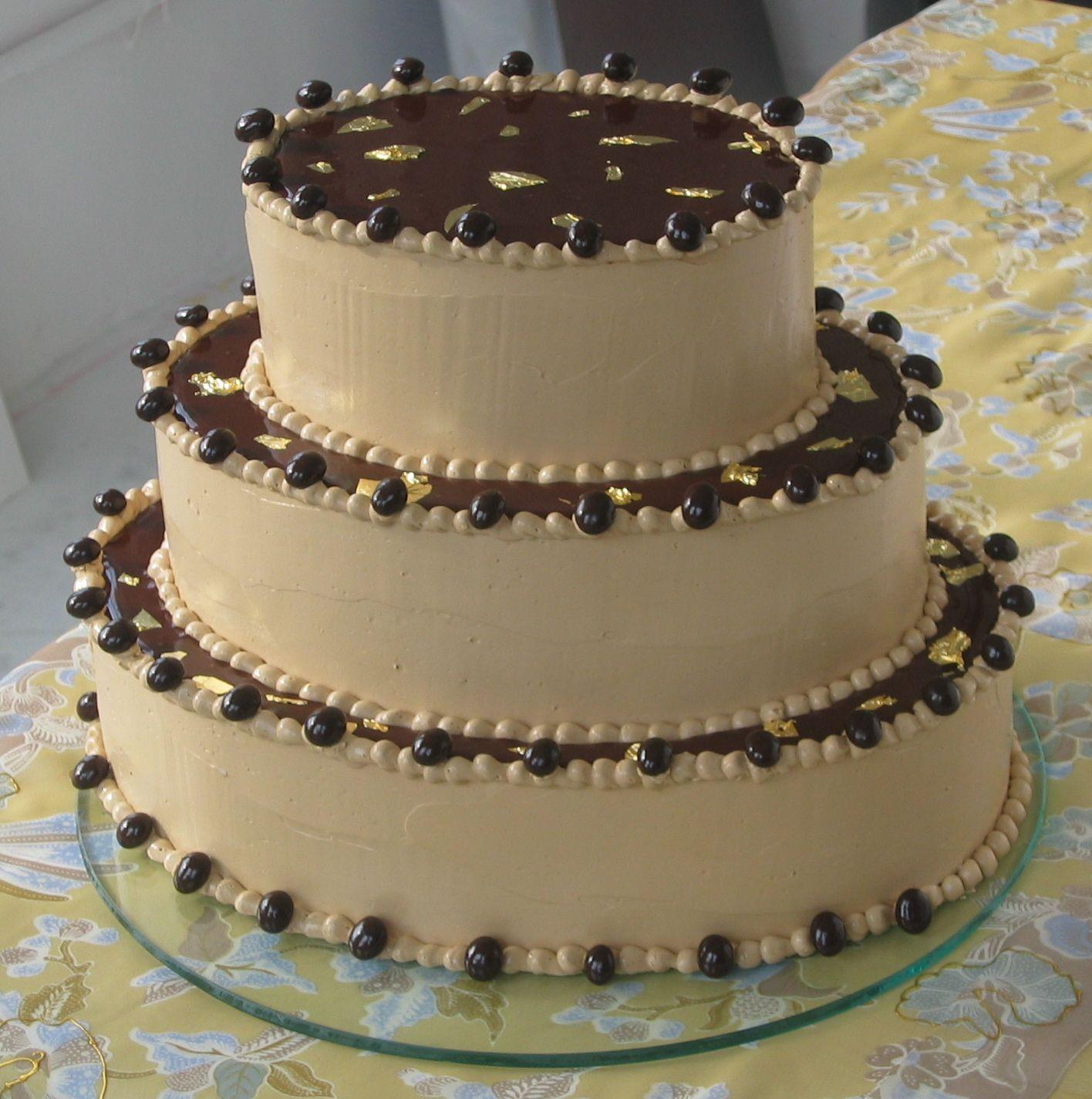 Gilded Mocha Wedding Cake yellow cake with bittersweet