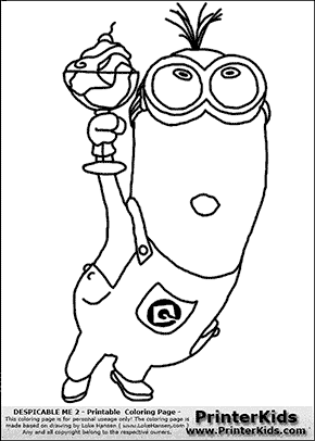 despicable me 2 minion 11 minion with ice cream in glass coloring page - Despicable Coloring Pages Dave